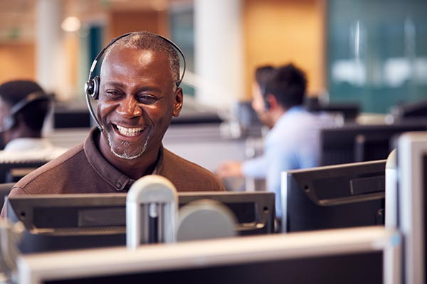 Man in call centre